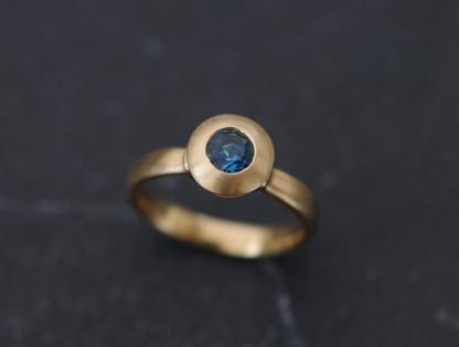 london blue topaz medieval ring in 18K y gold