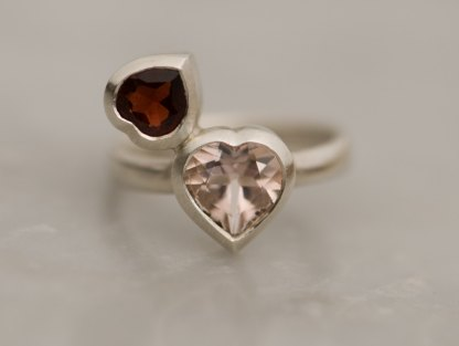 heart cut morganite and garnet set in sterling silver ring
