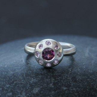 Rhodolite garnet and pink sapphire multi-stone ring in silver