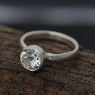White topaz solitaire ring in sterling silver