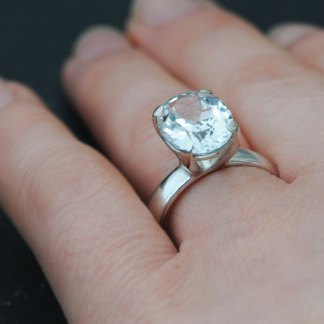 Large oval white topaz claw set in silver ring