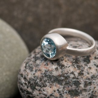 sky blue topaz solitaire set in sterling silver ring by William White