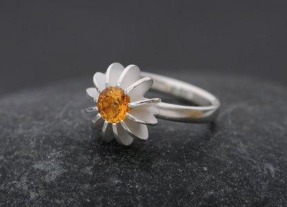 Citrine sea urchin ring in silver