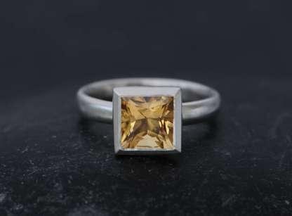 princess cut square citrine ring in silver