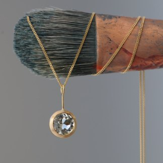 Clean and simple green amethyst lollipop pendant, set in 18k yellow gold, on an 18k yellow gold chain. Gold necklace designed and handmade by William White.
