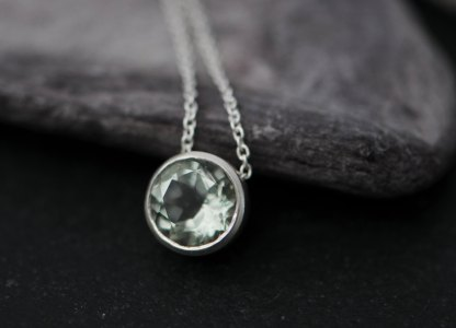 pale green amethyst necklace set in sterling silver on silver chain. By William White