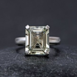 Large pale green amethyst stone claw set in silver ring