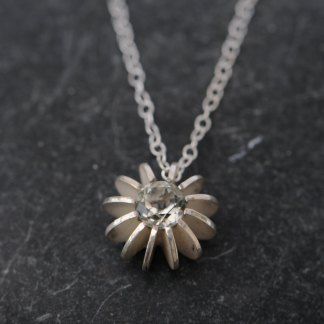 Stunning pale green amethyst sea urchin necklace in silver by William White