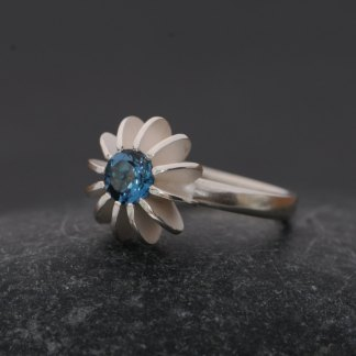 London blue topaz sea urchin ring in silver