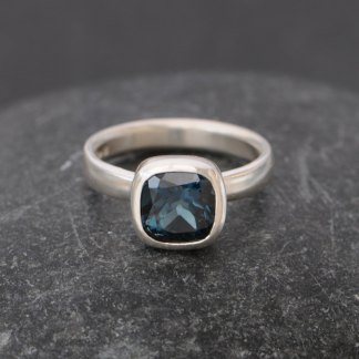 London blue topaz square stone in silver ring
