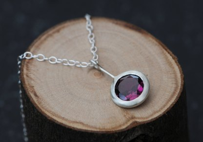 purple Rhodolite garnet 'Lollipop' necklace, set in satin finished sterling silver by William White
