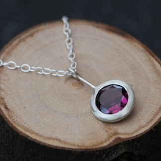 purple Rhodolite garnet 'Lollipop' necklace, set in satin finished sterling silver by William White