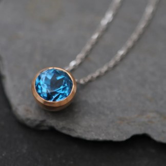 Swiss Blue Topaz gold necklace on white gold chain by William White