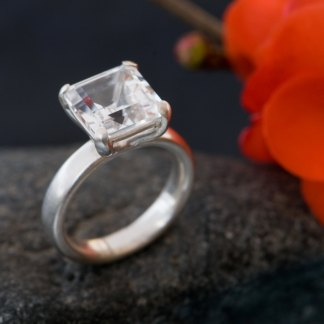 Large white topaz square stone set in silver ring