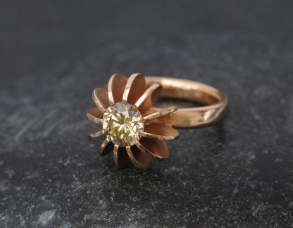 Champagne diamond set into rose gold sea urchin design ring