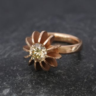 Champagne diamond set into rose gold sea urchin design ring