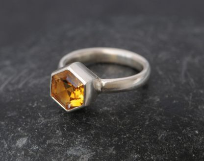 Unusual citrine hexagonal solitaire ring in silver