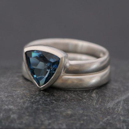 London blue topaz trillion set wedding and engagement ring set