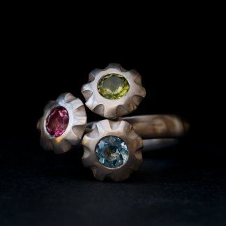 Triple flower design ring with peridot and topaz stones ready to ship
