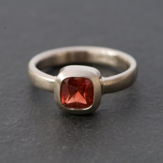 Square red Oregon sunstone in white gold ring