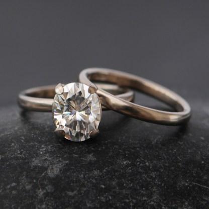 moissanite oval wedding set in 18K white gold 1