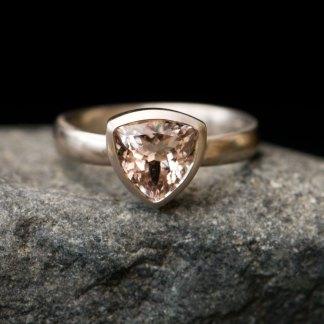 morganite trillion ring in 18K white gold
