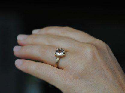 morganite trillion ring 18K YG on hand