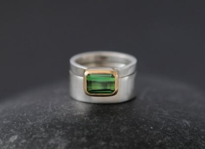 Green tourmaline wedding set mixed 18K gold