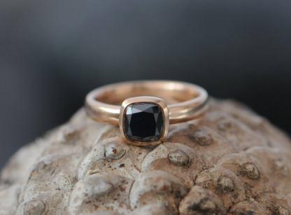 black diamond 6mm cushion ring in 18K r gold