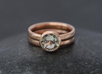 green amethyst wedding set 18K Rose Gold