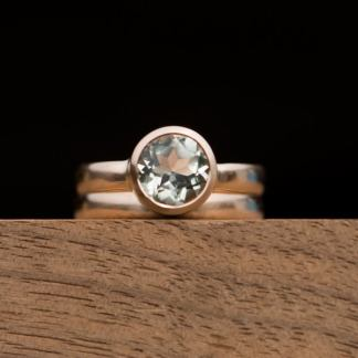 green amethyst wedding set in 18K rose gold