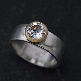 White Topaz Statement Ring with 18K Gold Bezel and Silver Band