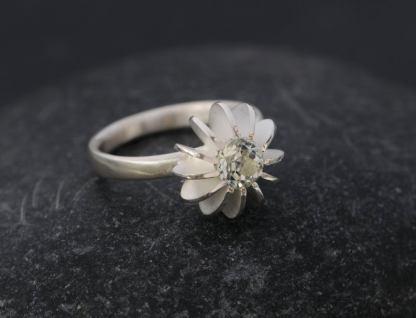 green amethyst sea urchin ring silver