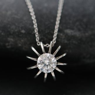 moissanite sea urchin necklace in platinum