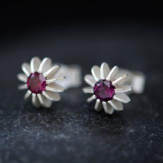 rhodolite garnet sea urchin earrings in silver