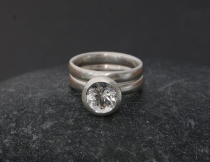white topaz 8mm halo wedding set in silver