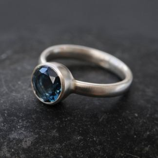 London blue topaz 8mm bezel ring silver