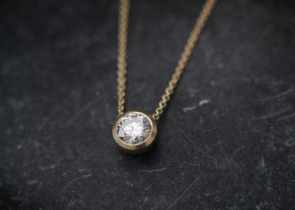 Moissanite 1 ct cup necklace in 18K yellow gold