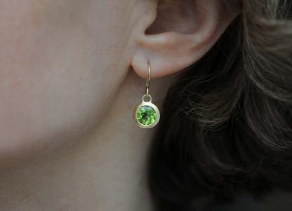 peridot drop earrings in 18K yellow gold