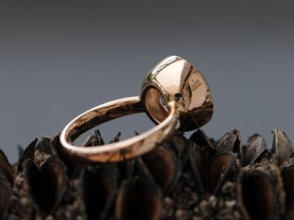 white topaz 12mm cup ring 18K rose gold