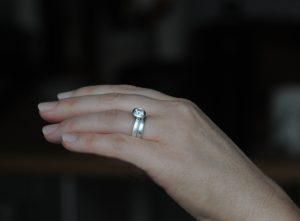 moissanite 6.5mm halo wedding set in silver