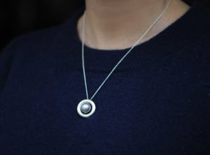 silver pearl halo necklace in silver