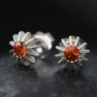 Orange sapphire sea urchin Silver Earrings