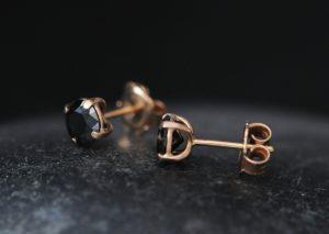 black diamond 5mm stud earrings 18K rose gold