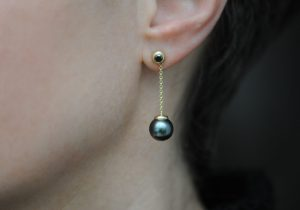 black pearl and black diamond drop earrings in 18K yellow gold