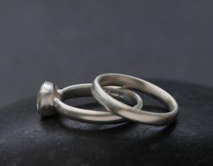 moissanite 6mm cushion wedding set in platinum