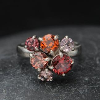 Malayan garnet cluster ring in 18K white gold