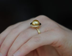 gold pearl halo ring 18K yellow gold