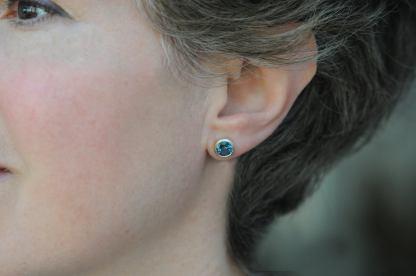 london blue topaz 7mm round stud earrings 18K y gold