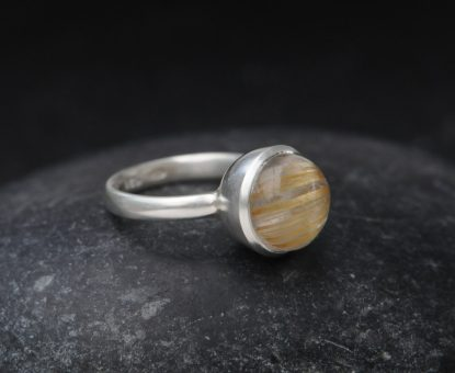 Tourmalated Quartz 12mm Cab Ring in Silver